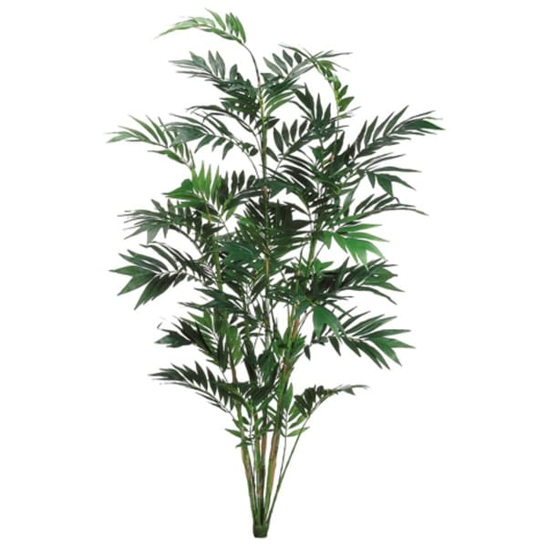 set of 2 artificial tropical green bamboo palm plants 7' - free