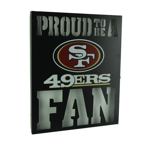 Proud To Be A San Francisco 49ers Fan Cutout Metal Wall Sign - Black - 14.75 X 12 X 1 inches