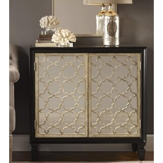 "34"" Silver Quatrefoil Lattice Black Glossed Poplar Mirrored Console Cabinet"