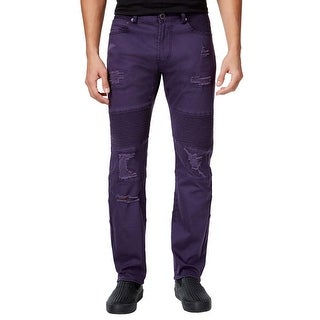 LRG True Tapered Fit Purple Stretch Pintucked Distressed Jeans