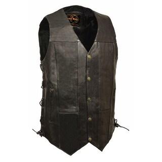 Mens Leather 10 Pocket Side Lace Vest - Tall