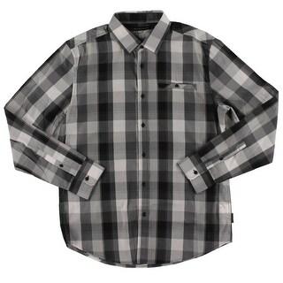 Sean John Mens Casual Shirt Plaid Long Sleeve