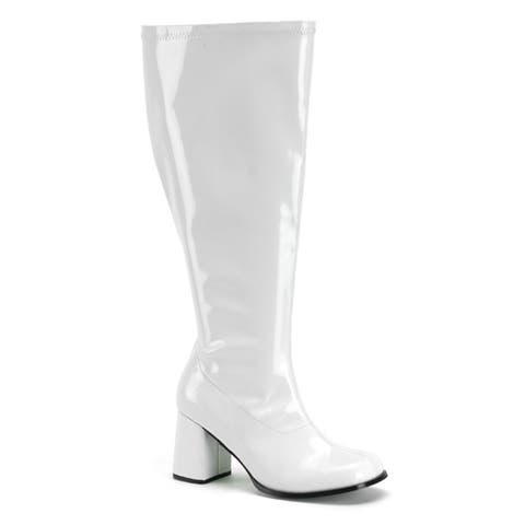 Womens White Wide Calf Halloween Gogo Boots