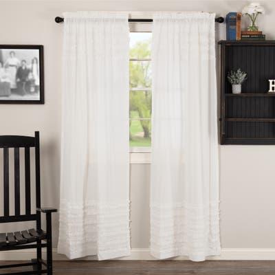 White Ruffled Sheer Petticoat Panel Set of 2 84x40 - Panel 84x40