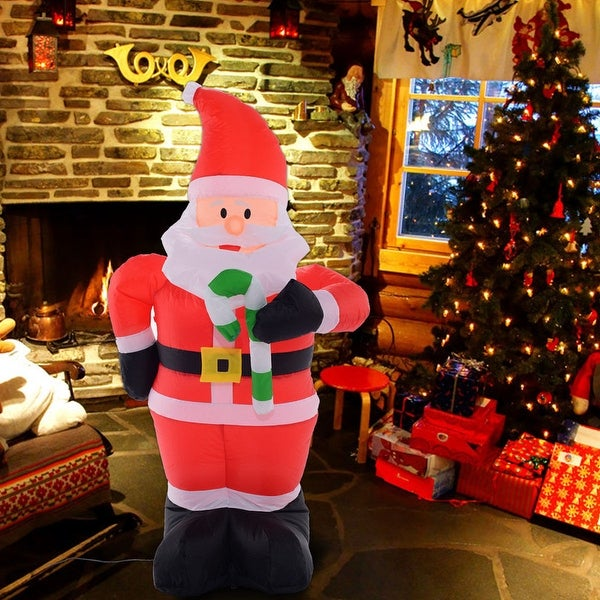 costway 4 ft airblown inflatable christmas xmas santa claus decoration lawn yard outdoor - Cheap Inflatable Christmas Lawn Decorations
