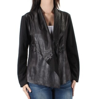 STYLE & COMPANY $44 Womens New 1458 Black Faux Leather Long Sleeve Top S B+B