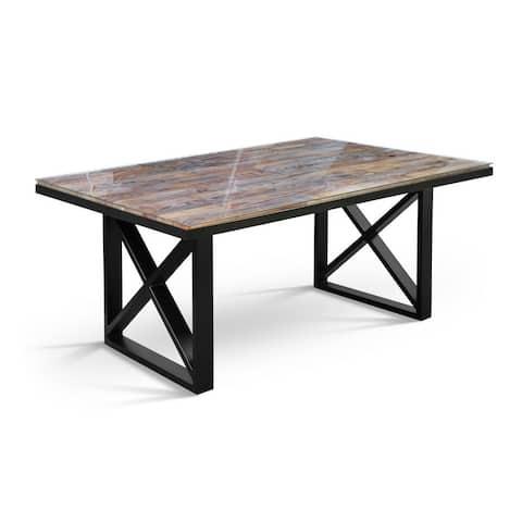 TISKAN Glass top Solid Wood Dining Table - Antique Oak/Black