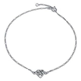 Bling Jewelry Celtic Love Knot Heart Anklet Bracelet Sterling Silver 10in