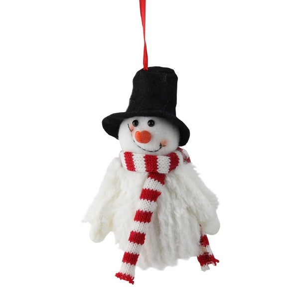 "5"" Smiling Fuzzy Snowman with Top Hat and Striped Scarf Christmas Figure Ornament"