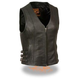 Womens Leather V-Neck Zip Front Side Buckle Vest