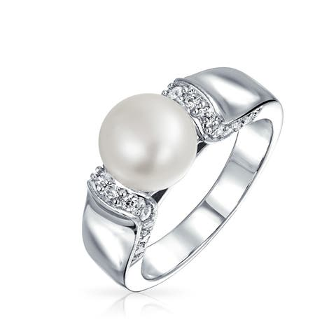 Art Deco Style Freshwater Cultured Pearl Promise Ring Pave CZ Rhodium Plated Brass