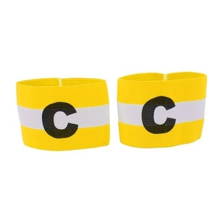 2 Pcs Yellow White Elastic Football Soccer Captain Armband with Letter C Printed
