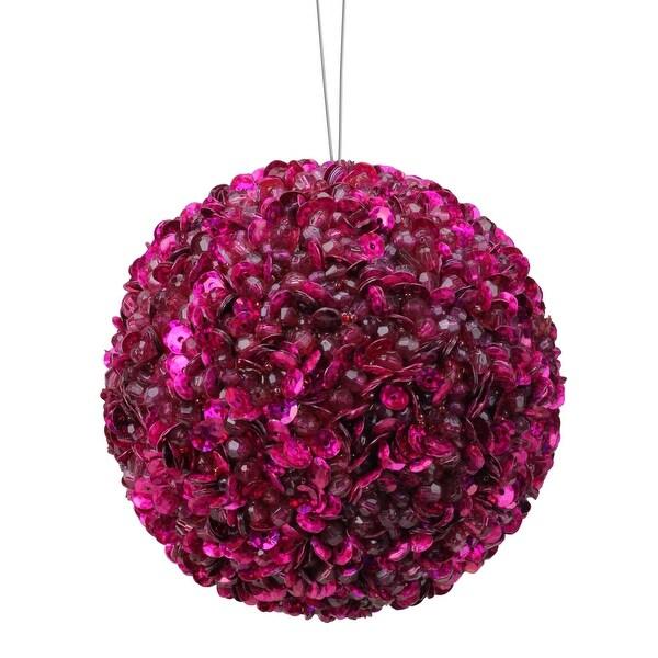 "Lavish Fuchsia Pink Fully Sequined & Beaded Christmas Ball Ornament 4.25"""