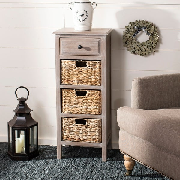 "Safavieh Michaela Winter Melody 4-Drawer Storage Side Table - 15"" x 11.8"" x 35.8"""