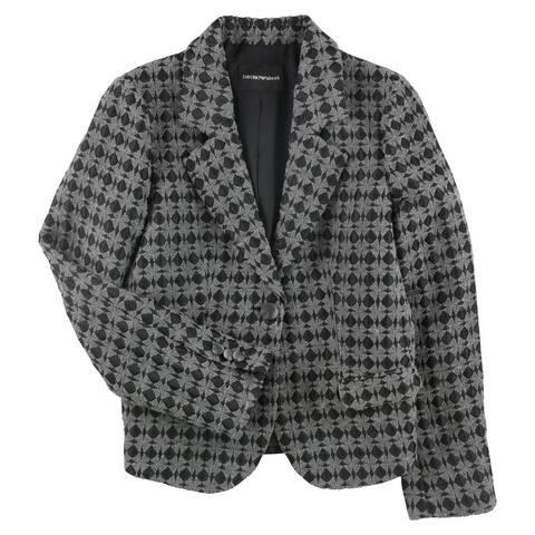 Armani Womens Diamond One Button Blazer Jacket, Grey, 48