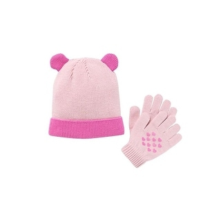 Accessory Innovations Girls Pink Heart Ears Knit Hat Gloves Set One Size - One size