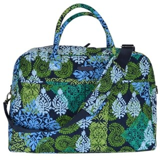 Vera Bradley CARIBBEAN SEA Print Cotton Weekender Duffle Travel Bag Purse