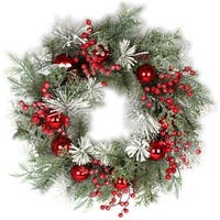"Mixed Snow Pine Berry Wreath 28""-"