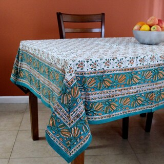 Handmade Hand Block Print 100% Cotton Eternal Floral Vine Tablecloth 60x60 Blue Green Gold Red Orange - 60 Inches