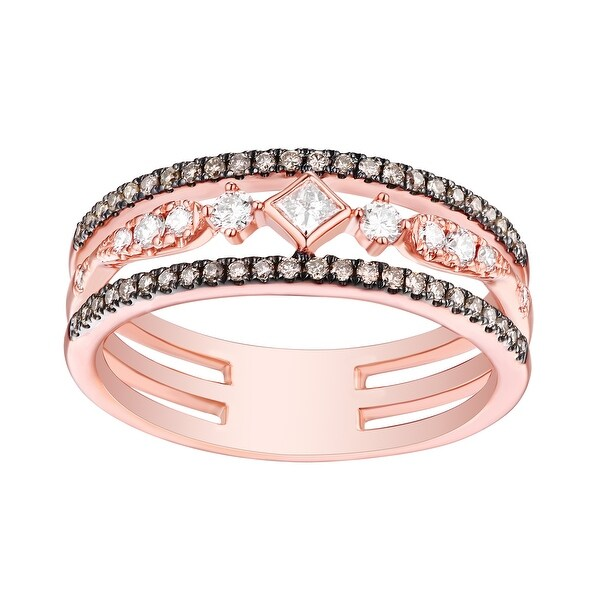 0.45Ct G-H/SI1 Natural Princess & Round Diamond With Brown Diamond Wedding Ring - White G-H