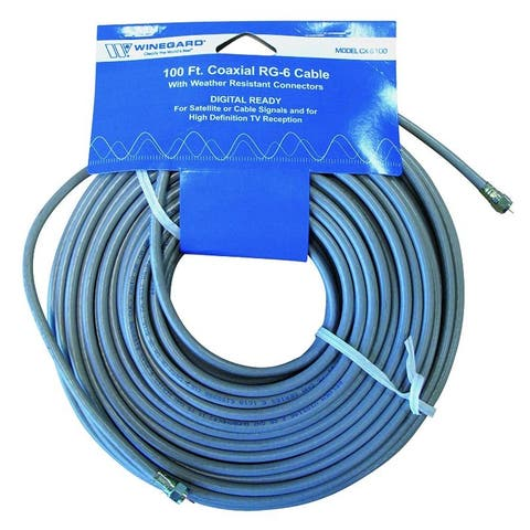 100' RG6 Cable with O Ring Connectors