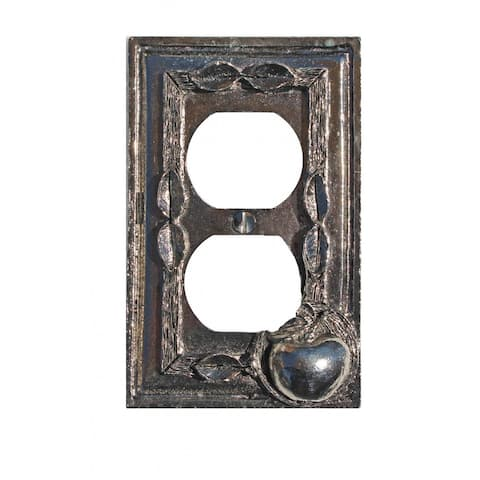 Switchplate Antique Solid Brass Apple Outlet