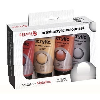 Reeves Non-Toxic Acrylic Paint Set, 2.5 oz Tube, Assorted Metallic Color, Set of 4