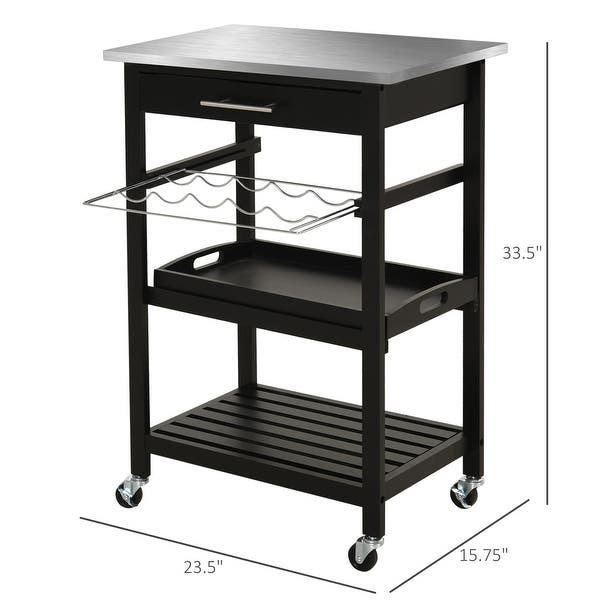 Shop Homcom Pine 3 Tier Multifunction Rolling Kitchen Island Cart With Open Storage Shelves Wine Rack Stainless Steel Top Overstock 31628482