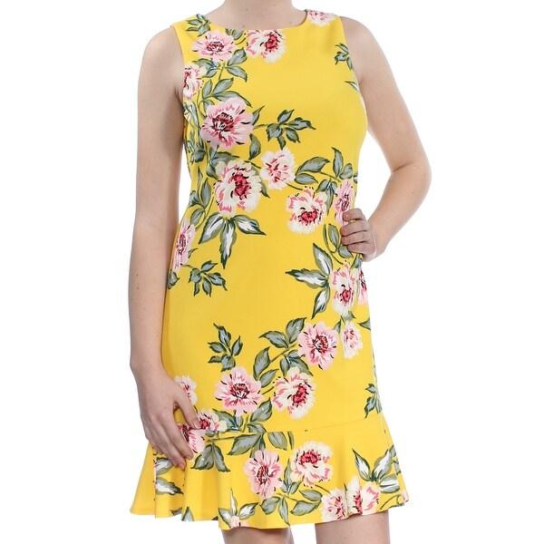 1283e5fa6247c ... denmark shop jessica howard womens yellow floral print sleeveless jewel  neck above the knee a line