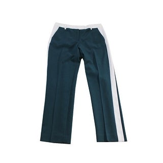 Anne Klein Teal White Crepe Straight Pants 8