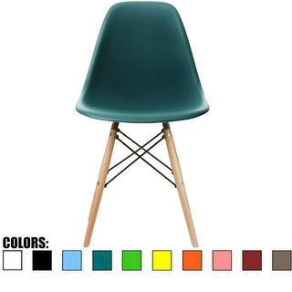 2xhome Teal - Eames Style Molded Bedroom & Dining Room Side Ray Chair with Natural Wood Eiffel Legs Base