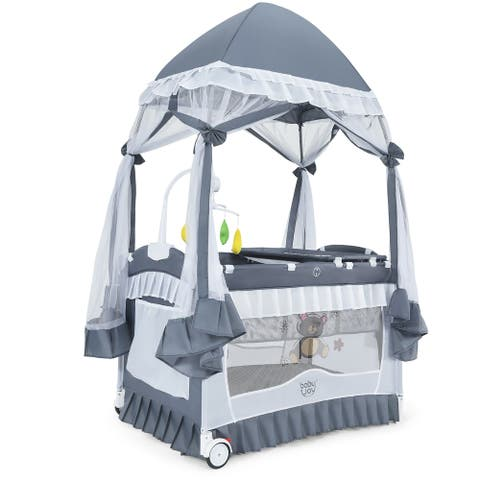 Costway 4 in 1 Portable Baby Playard Crib Bassinet Bed w/Changing - See Details