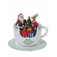 "Set of 2 Vibrantly Colored Santa Teacup Christmas Table Decor 5.25"" - White"