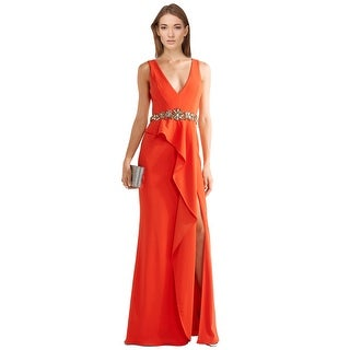 Marchesa Notte Embellished Crepe Ruffle Evening Gown Dress - 2