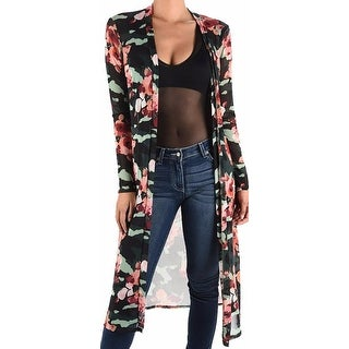 Funfash Plus Size Women Black Floral Mesh Kimono Cardigan Made in USA