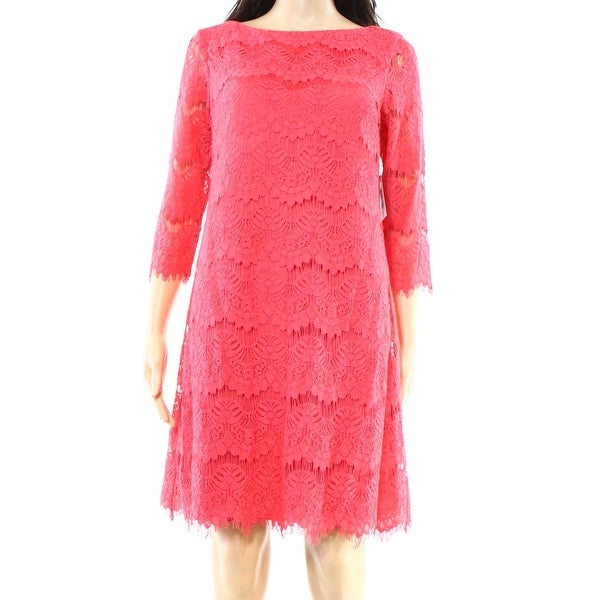 1d7f0ce7 Shop Jessica Howard NEW Pink Coral Womens Size 6 Lace Illusion Shift Dress  - Free Shipping On Orders Over $45 - Overstock - 18308933