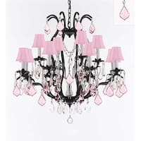 Swarovski Crystal trimmed Iron Chandelier With Pink Crystals & Pink Shades