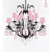 Wrought Iron Crystal Chandelier With Pink Crystals & Pink Shades