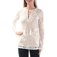 Womens White Floral Long Sleeve V Neck Party Top  Size  XS