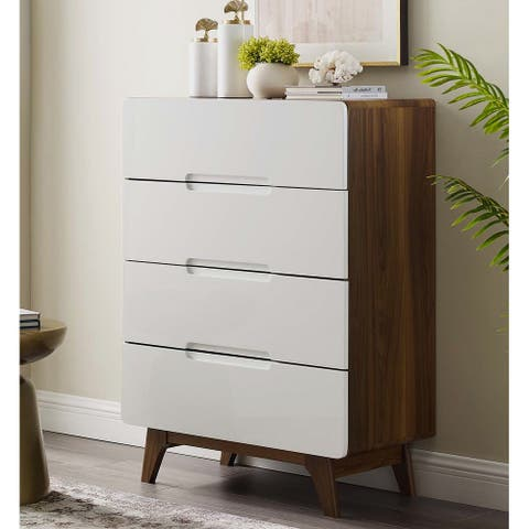 Tolmino White and Walnut 4-Drawer Wooden Chest