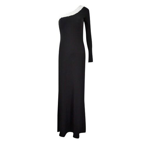Calvin Klein Women's Sequined One-Shoulder Jersey Gown