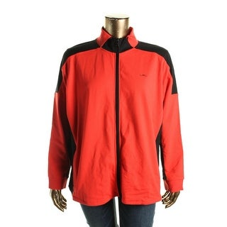 Lauren Ralph Lauren Womens Plus Athletic Jacket Colorblock Zip Front