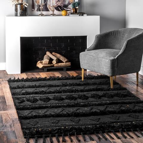 nuLOOM Black Hand Woven Contemporary Wool Raised Geometric Shag Rug