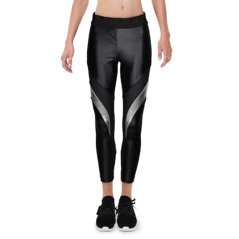 Koral Womens Athletic Leggings Metallic Fitness - Black