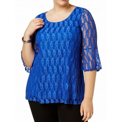 NY Collection Blue Womens Size 2X Plus Vine-Lace Overlay Knit Top