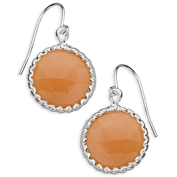 12 ct Peach Moonstone Drop Earrings in Sterling Silver - Pink