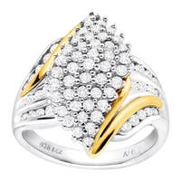 1 ct Diamond Marquise Ring in Sterling Silver & 14K Gold