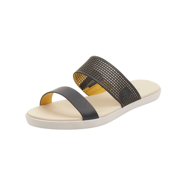 Lacoste Womens Natoy Slide 216 Sandals in Navy/Light Yellow