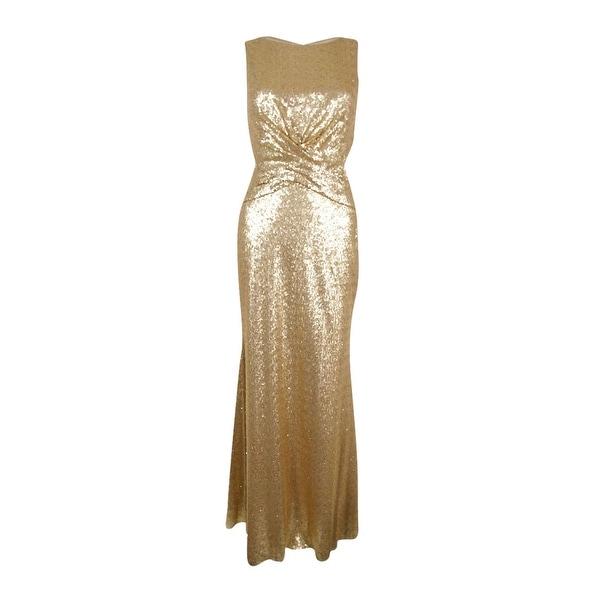Shop Betsy & Adam Women\'s Sequined Cutout Gown - Gold - 6 - On Sale ...
