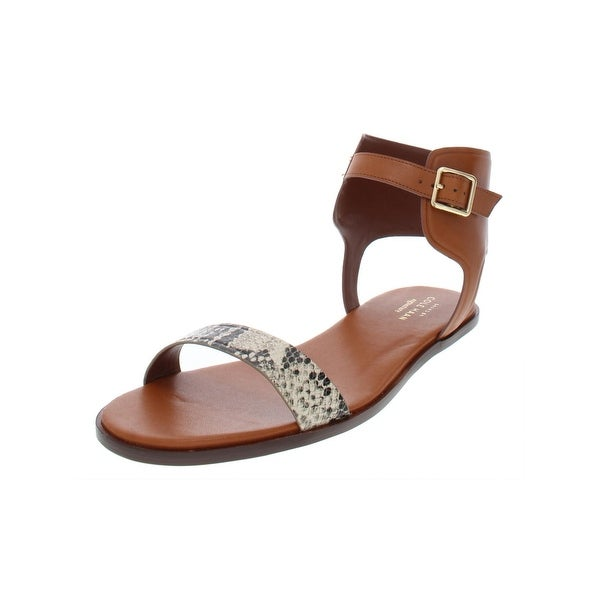 8952ec9452aa Shop Cole Haan Womens Barra Flat Sandals Leather Snake Print - Free  Shipping Today - Overstock - 27592902